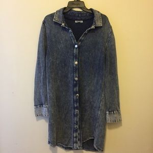 Long Knit Denim Cardigan